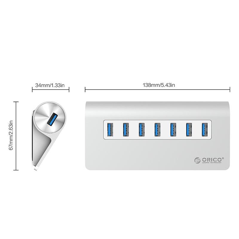 Orico Aluminum Alloy 7 Port (M3H7-V1) USB3.0 HUB with 30W