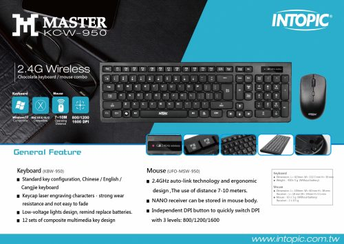 Keyboard Mouse Combo Intopic KCW-950 2.4GHz Wireless